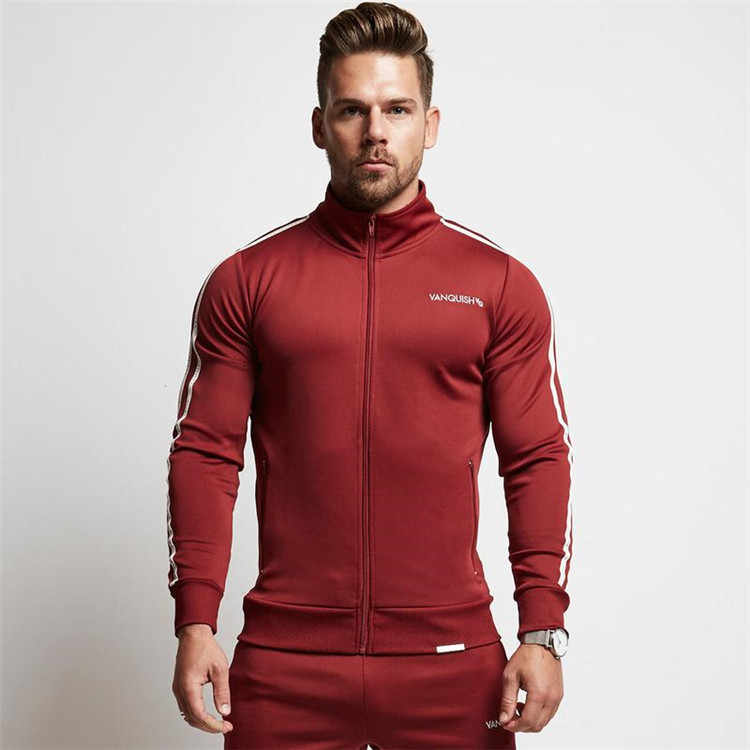 Running Jacket Mannen Sport Fitness Lange Mouwen Hoody Hoodies Rits Gestreepte Gym Training Run Jas Jassen