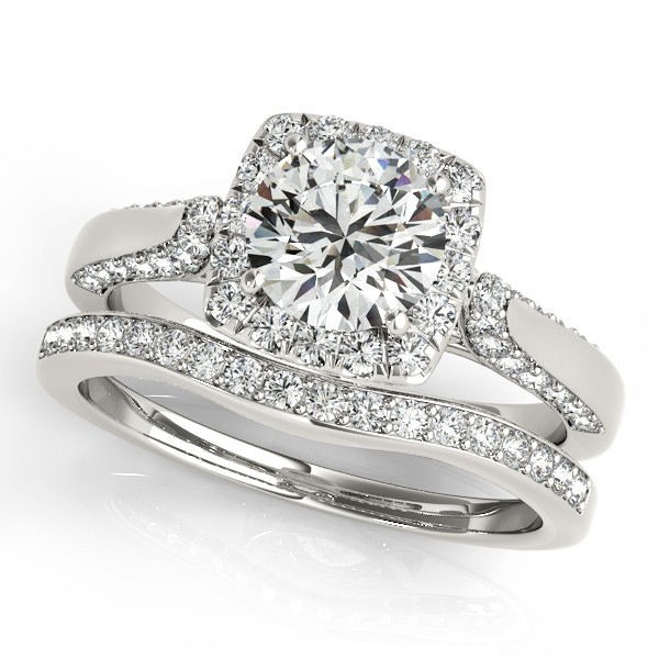 Luxury Wedding Set White Gold Plated Center 1ct Round Simulated