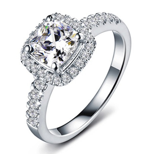 awesome best fire 1ct cushion cut 66mm moissanite test positive female ring real 14k white gold engagement ring - White Gold Wedding Rings For Women
