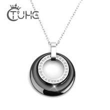 New Arrival Multiple Zircon Ceramic Necklaces & Pendants for Women Jewelry Double Circle CZ Wedding Chokers Necklace Women Gift(China)