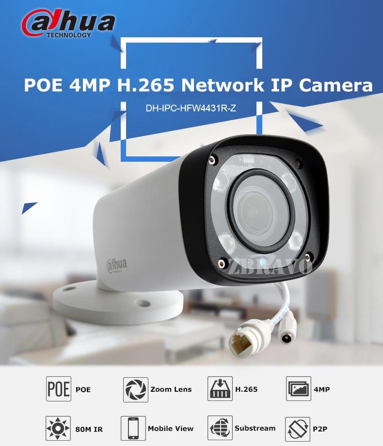 Dahua 4MP Night Vision IP POE Camera IPC-HFW4431R-Z 80M IR with 2.7-12mm VF Lens Motorized Zoom Auto Focus IP67 Bullet IP Camera dahua motorized lens 2 7mm to 12mm ip camera ipc hfw2320r zs 3mp poe cctv ip camera ir 30m day night vision security ip camera