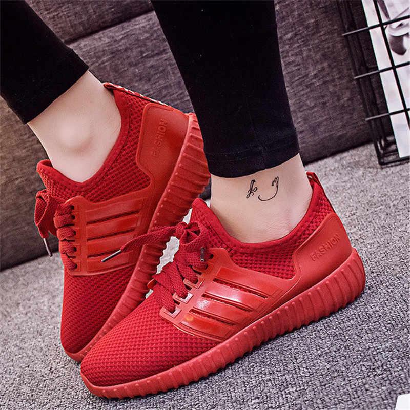 Homens e mulheres calçados esportivos em execução amantes sapatos calçados esportivos em execução sapatos respirável sapatos de malha leve apatillas mujer deportiva
