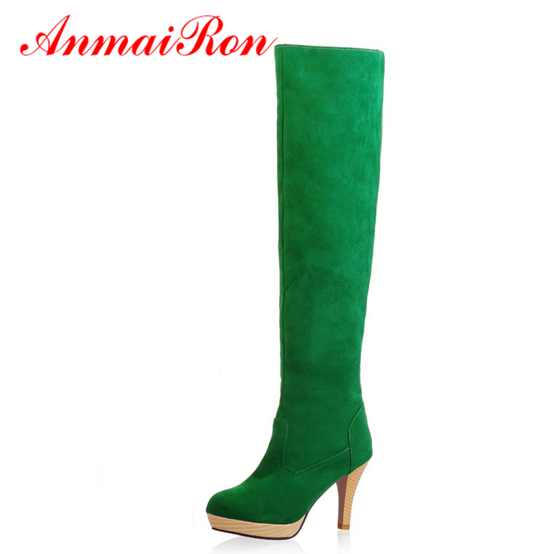 ФОТО ANMAIRON Design Thin High Heels Round Toe Platform Boots Women Winter Shoes Over the Knee Boots for Women Faux Suede Boots Green