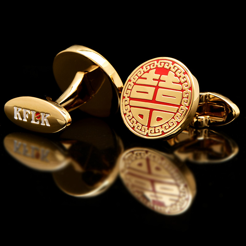 KFLK 2018 Luxury shirt cufflinks for mens Brand cuff buttons Gold cuff link High Quality Red abotoaduras Chinese style Jewelry