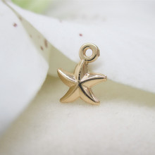 6PCS 8x10MM 24K Champagne Gold Color Plated Starfish Pendants Charms for DIY Jewelry Making Accessories