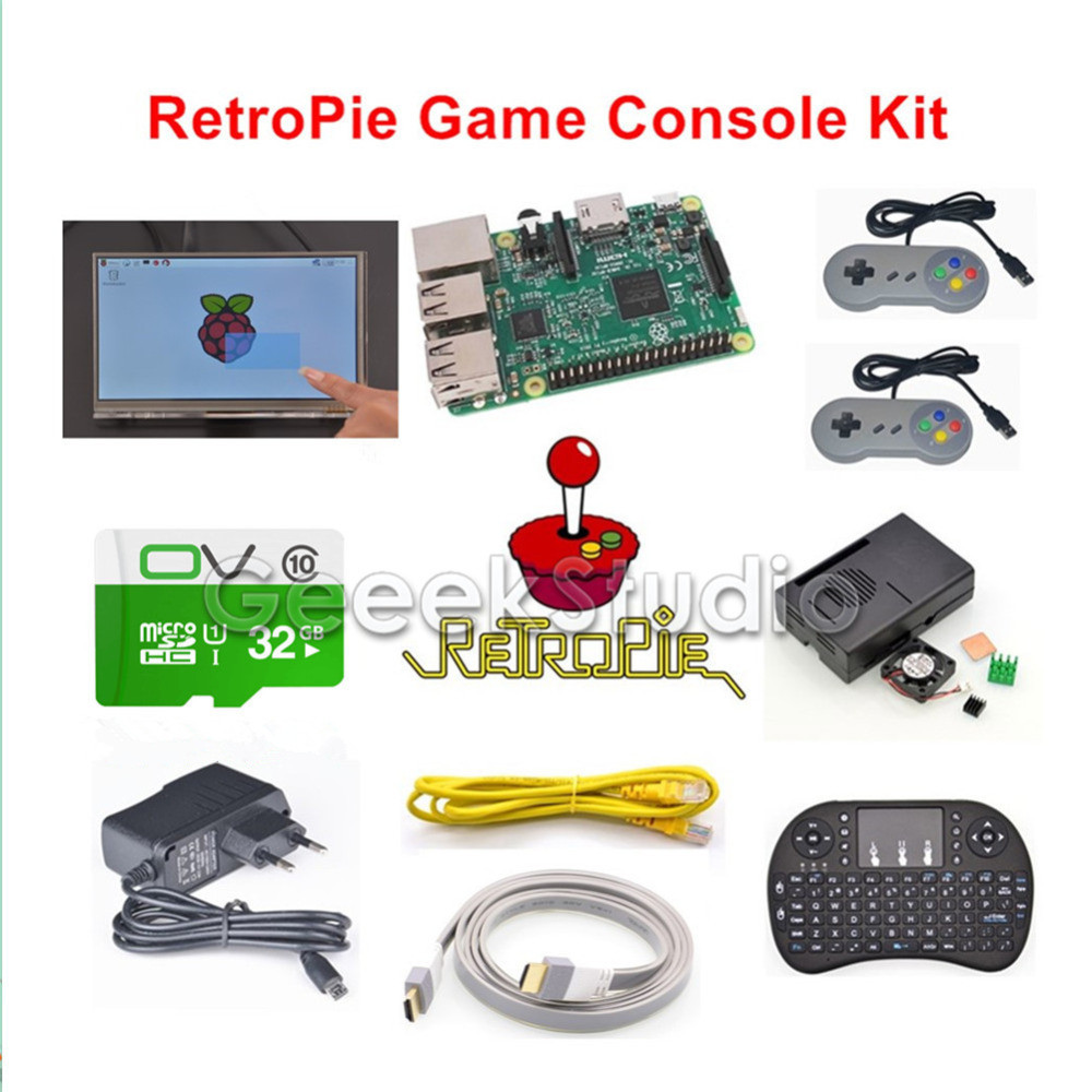 Raspberry Pi 3 Model B 32GB RetroPie Game Kit with 7 Inch 1024*600 LCD Touch Screen and 2pcs SNES Gamepads Controllers стоимость