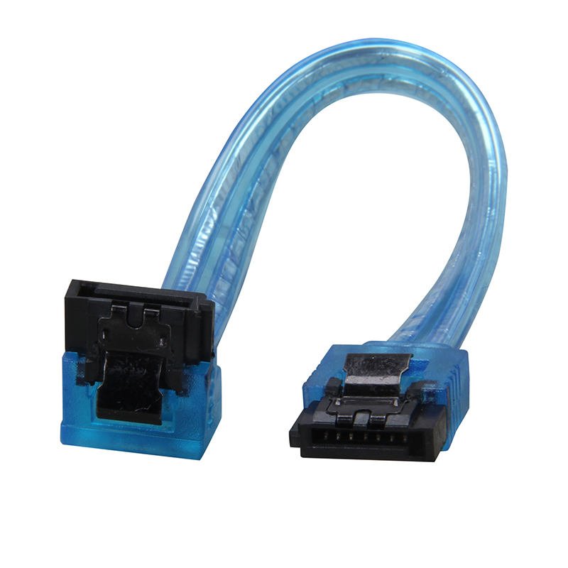 6inch 180 To 90 Degree 6Gb/s SATA3 Serial ATA DATA Cable With Latch For SATA 3.0 SATAIII 6Gbps HDD Hard Drive Disk/ SSD -UV Blue