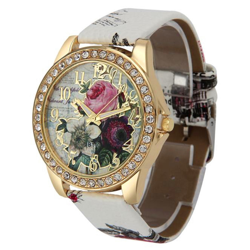 2019 New Arrival Top Selling Fashion Women's Watches Embossed Flower Small Fresh Printed Belt Dial Female Student Quartz Watches