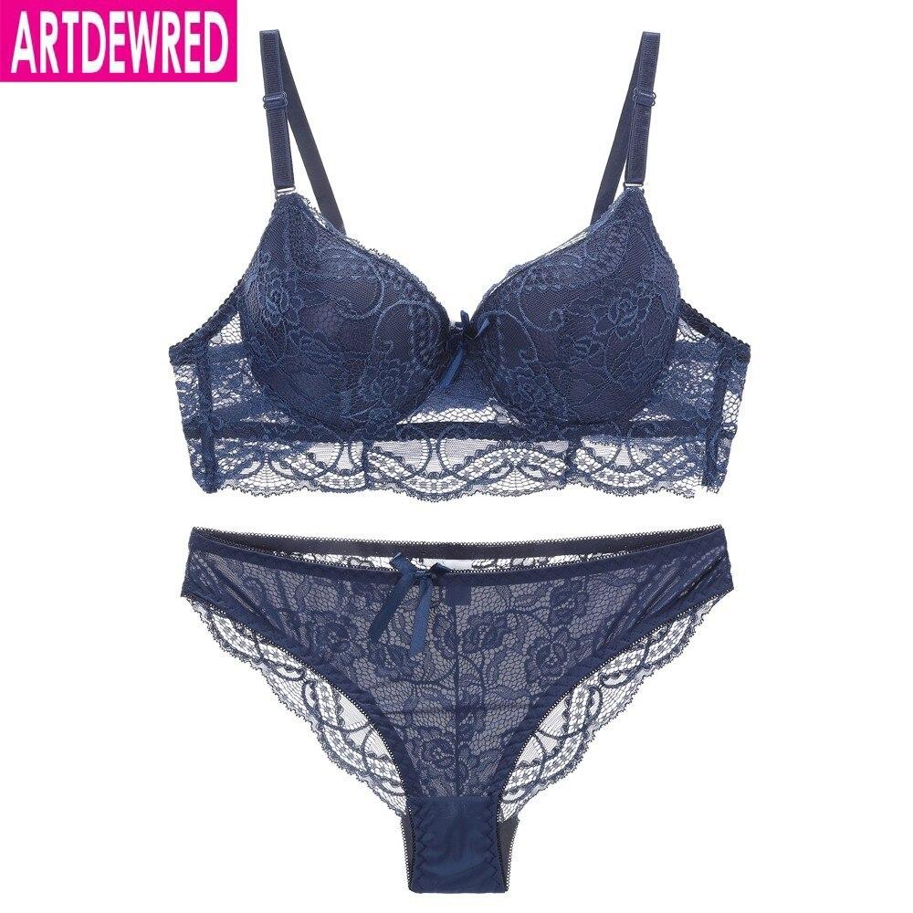 New Lace Bra Brief set Push up Bra Sexy Girl Women Underwear of Back Closure 6 Colors|Bra & Brief Sets|   - AliExpress