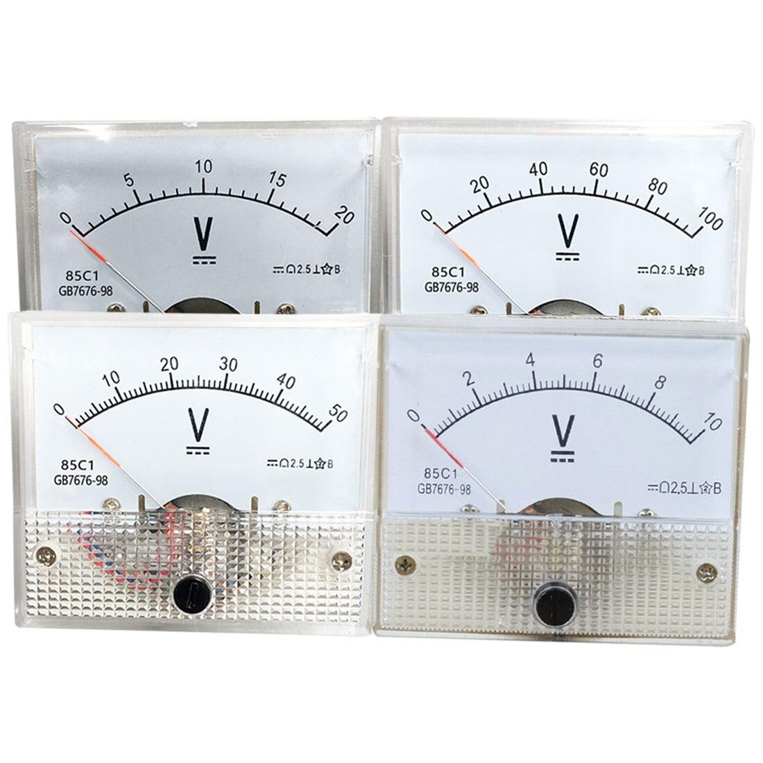 Analógico Painel Volt Voltage Meter Voltímetro Medidor 85C1 DC 10/20/30/50/100/200 v