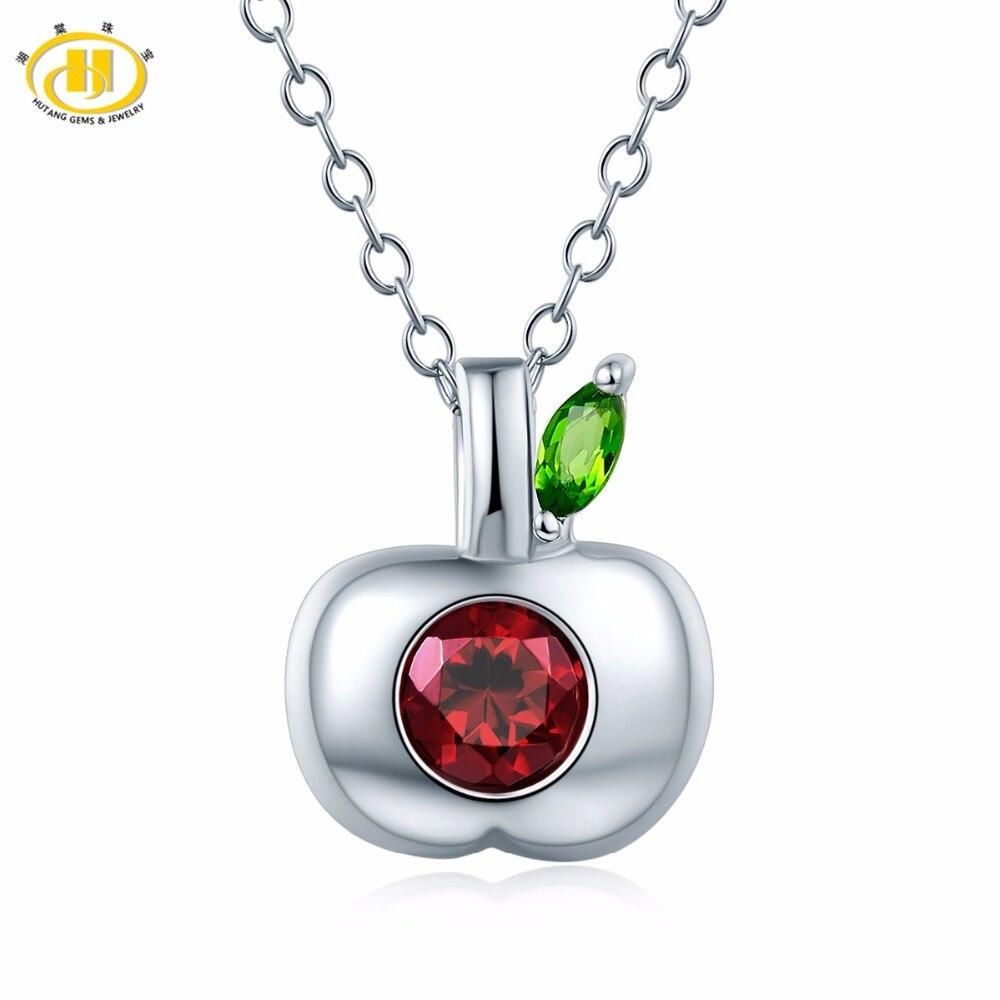 Hutang Natural Gemstone Rhodolite Garnet Diopside Apple Pendant Necklace Solid 925 Sterling Silver Fine Jewelry For Women's Gift