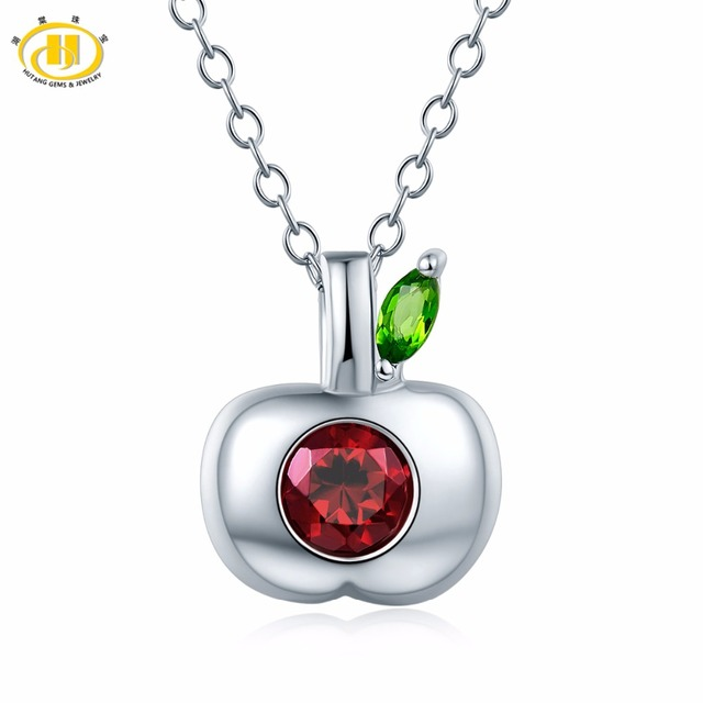 Hutang natural gemstone rhodolite garnet diopside apple pendant hutang natural gemstone rhodolite garnet diopside apple pendant necklace solid 925 sterling silver fine jewelry for mozeypictures Image collections
