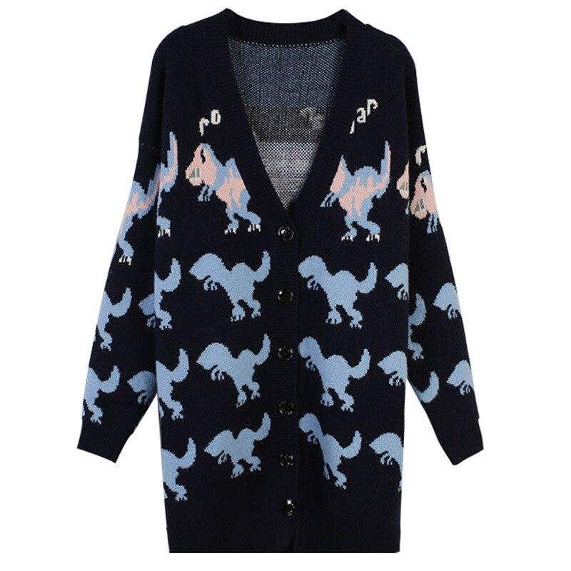 Veste tricotée à manches longues col en v automne nouvelle couleur des femmes dinosaure broderie lâche à manches longues tricot cardigan