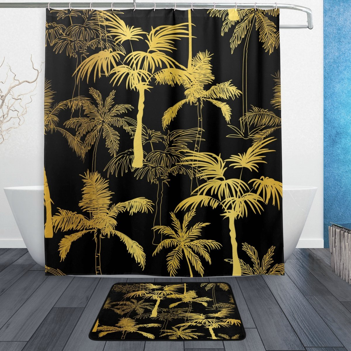 Us 18 39 20 Off Golden Black Palm Tree Waterproof Polyester Fabric Shower Curtain With Hooks Doormat Bath Floor Mat Bathroom Home Decor In Shower