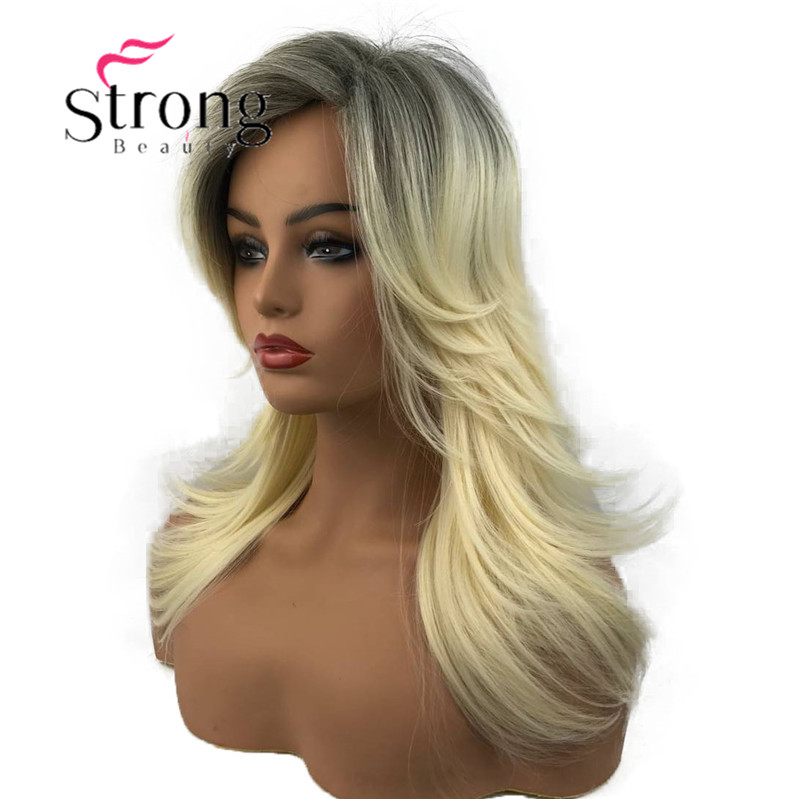 StrongBeauty Long Blonde With Dark Roots Ombre Synthetic Full Wig Choppy Layers Flip Out Wigs