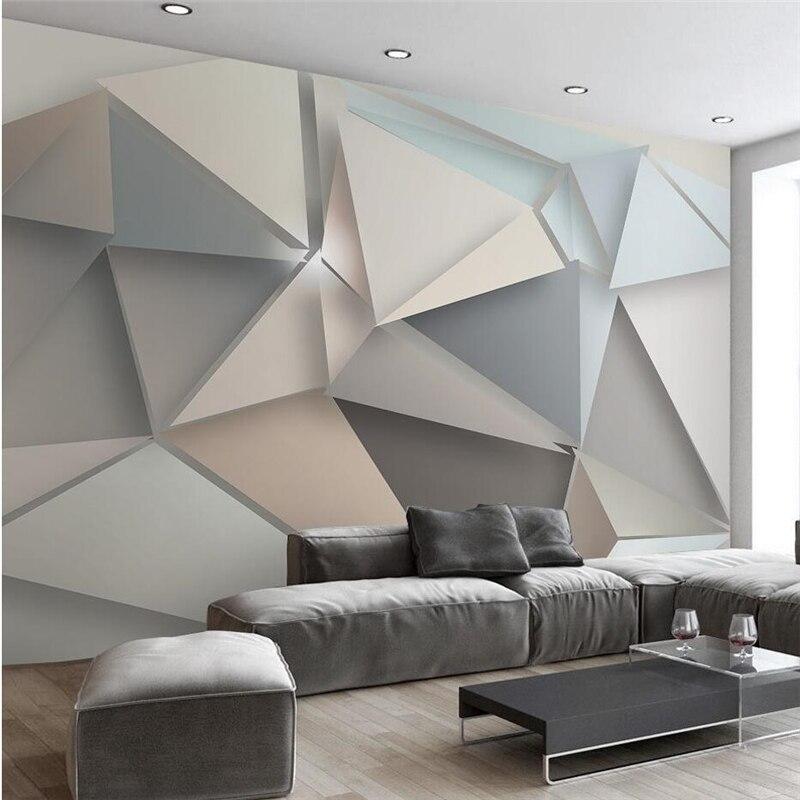 Beibehang papier peint papel tapiz para paredes 3 d tri ngulo est reo estilo sencillo y moderno - Papel paredes ikea ...