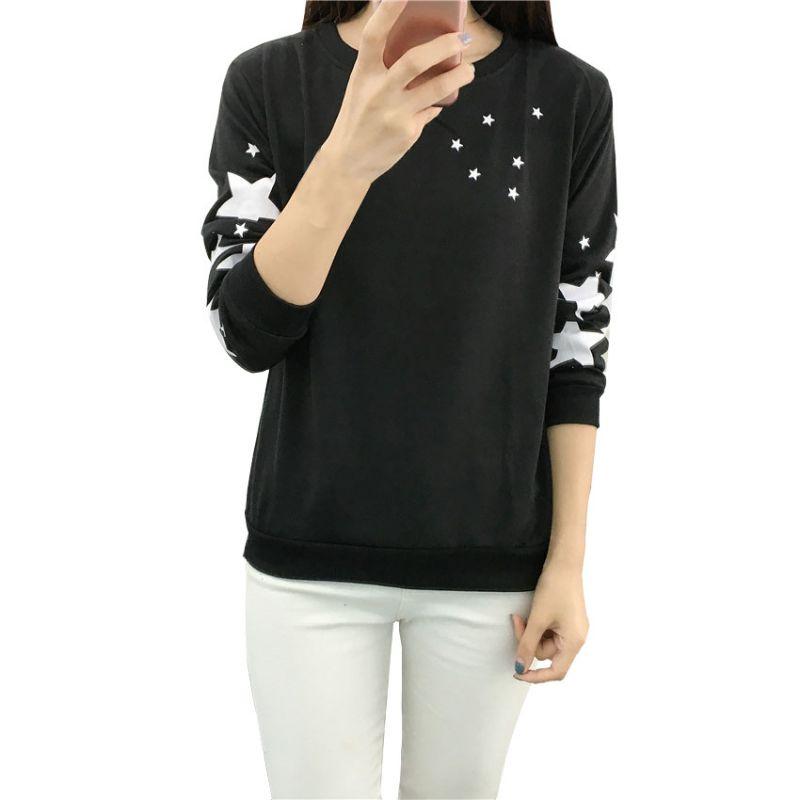 Autumn Winter Women Hoodies Fashion Embroidery Star Pattern Cotton Thick Velvet Warm Long Sleeve Round Neck Sweatshirts Clothes