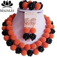Majalia Fashion Nigeria Wedding African Jewelry Set Orange And Black Crystal Plastic Pearl Necklace Bride Jewelry