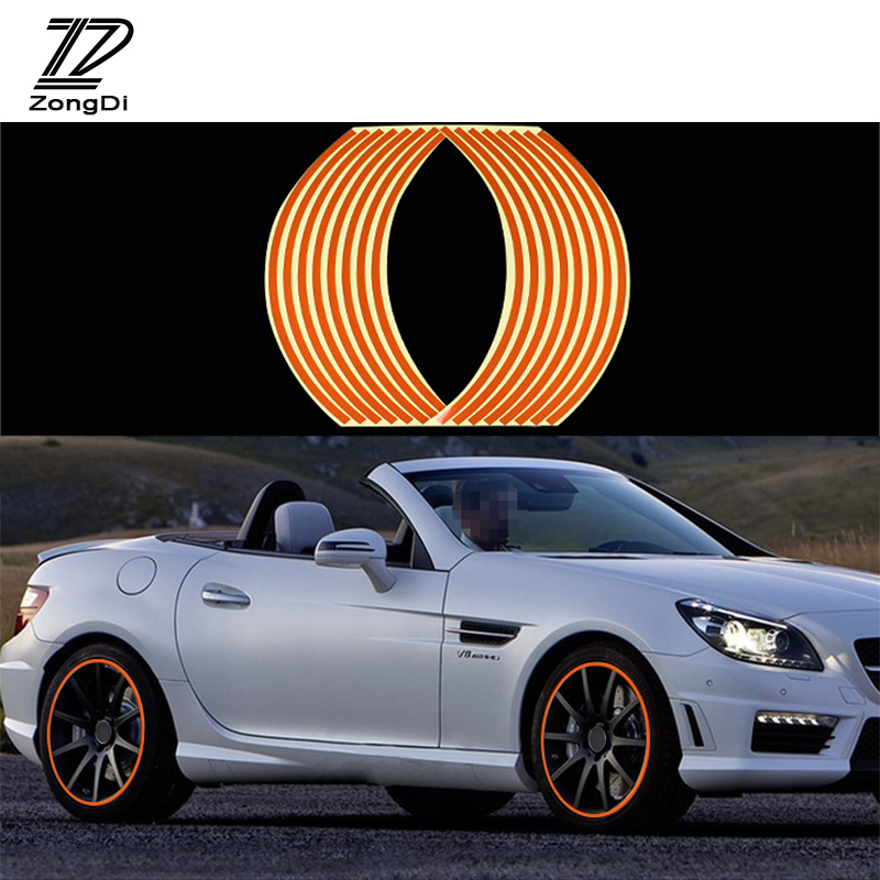 ZD 16pc 14 Car Wheel Reflective Rims Tape Decals Strip Sticker For Kia Rio Ceed Toyota Corolla 2008 Avensis C-HR RAV4 Mazda 3 6