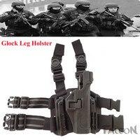 Militar tático Puttee Pistola Glock Coldre de Perna Com Bolsa de Revista de Tiro caça Coxa Coldre Glock 17 18 19 22 23 31 32