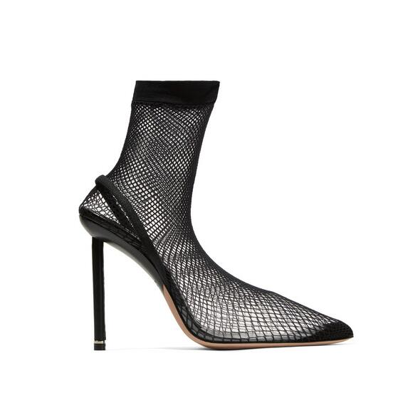 New Designer Black Net Hollowed Sock Boots Women Pointed Toe PVC Transparent Fashion Long Boots High Quality Runway Shoes - 5