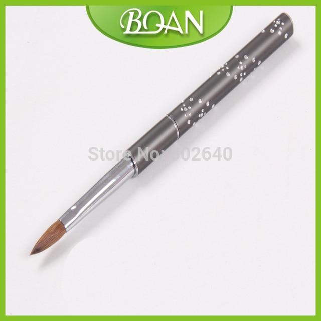BQAN 10pcs Selling Metal Handle Oval Kolinsky Nail Brush Nail Art ...