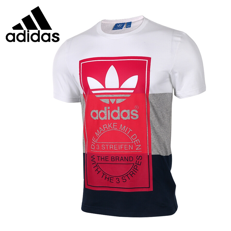 Original New Arrival Adidas Originals PANEL TONGUE TE Men's T-shirts short sleeve Sportswear short sleeve lace panel top