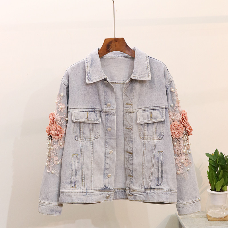 2019 Frühling Frauen Jacke Mantel Drehen Unten Kragen Perle Blume Stickerei Frauen Tops Denim Mantel Chaqueta Mujer Outwear Casaco So Effektiv Wie Eine Fee
