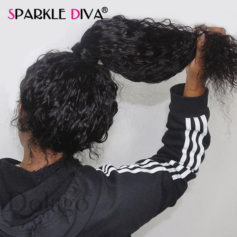 Lace Wigs Sparkle Diva Indian Remy Human Hair 360 Lace Frontal Wigs Deep Wave 150% Density Glueless Shedding Free Natural Color Hair Wigs Hair Extensions & Wigs