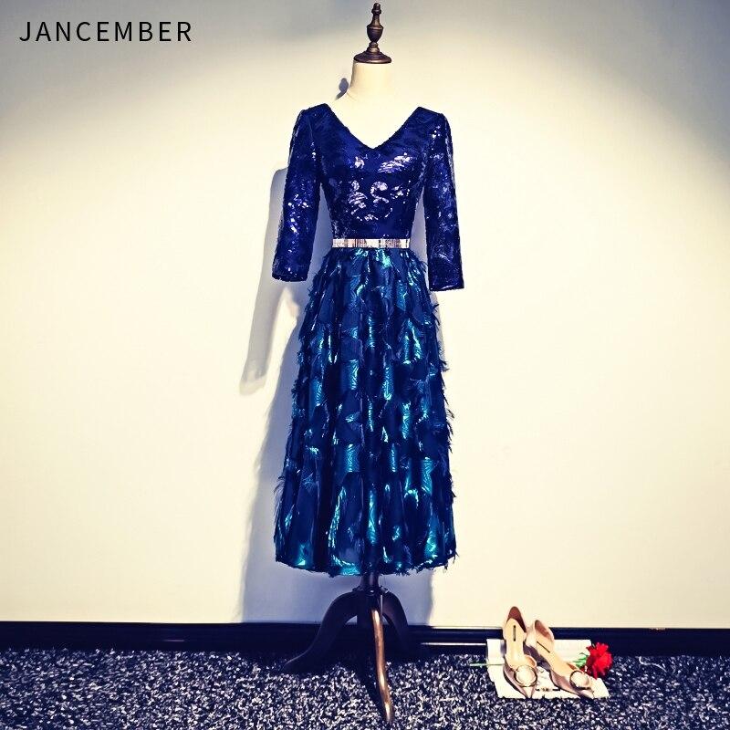 JANCEMBER 2019 Summer New   Cocktail     Dresses   V Neck Backless Lace Up Back Three Quarter Sleeve Crystal Belt Feather vestido cóctel
