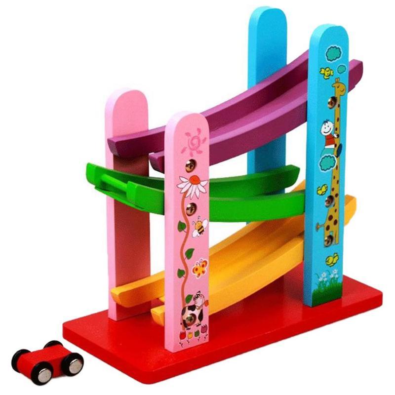 Juguete modelos coches pista juguete madera deslizamiento escalera inercia coche diapositiva modelo vehículos ranura juguetes modelo educativo
