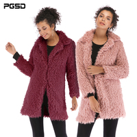 PGSD Simple Fashion Pure Colored Women Clothes Winter mid long turtleneck Long sleeves thermal Plush Open Stitch coat female