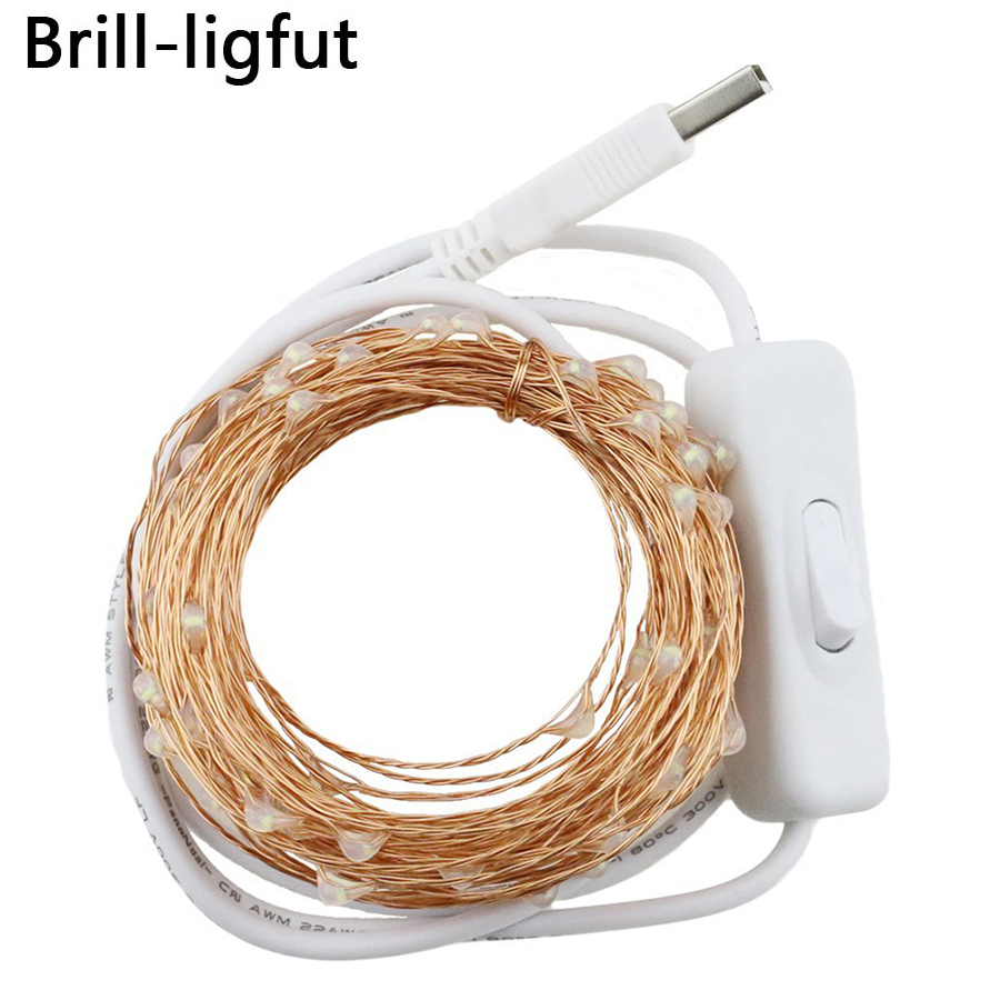 10M 100leds Waterproof USB Copper Wire LED String Lights With On/off Switch Holiday Outdoor Fairy Lights For Christmas Party