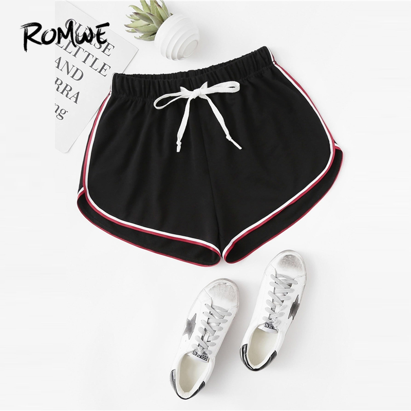 ROMWE Striped Dolphin Hem Drawstring Shorts 2019 Fashion Black Summer Women Shorts Sexy Female Mid Waist Clothing Shorts