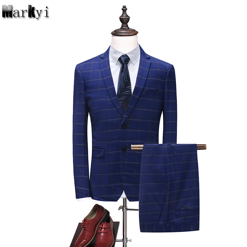MarKyi classic blue suit for men 2018 new arrival spring mens suit jacket slim fit plus size 2 pieces skinny suit ...