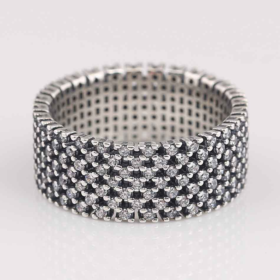 Authentic 925 Sterling Silver Ring Sparkling Pave Crystal Rings For Women Wedding Party Gift Fine Pandora Jewelry