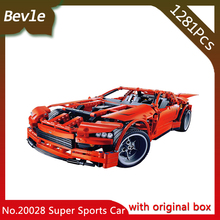 Bevle Store LEPIN 20028 1281Pcs with original box Technic Series Super Muscle Sports Car Building Blocks For Children Toys 8087