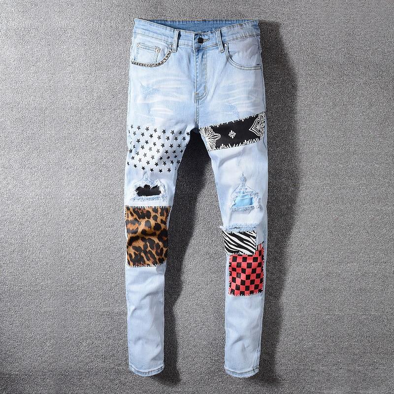 Fashion Streetwear Men Jeans Light Blue Slim Fit Patch Designer Elastic Ripped Jeans Men Denim Printed Pants Hip Hop Jeans Homme