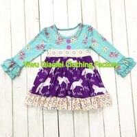 Wholesale High Quality Children Clothing Set Boutique Remake Unicorn Design Kids Dress