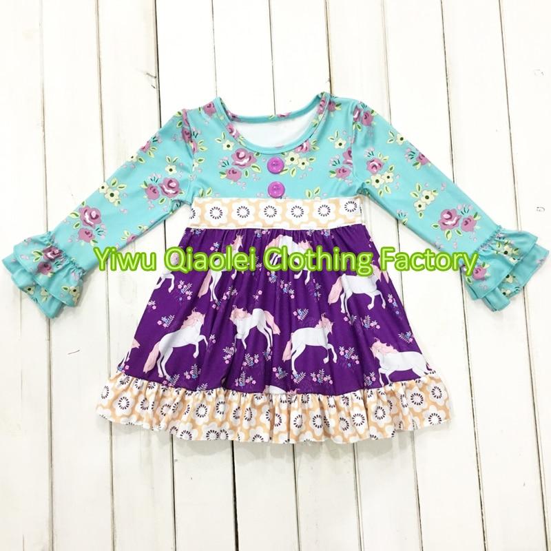 Wholesale High quality children clothing set boutique remake unicorn design kids dress цена и фото