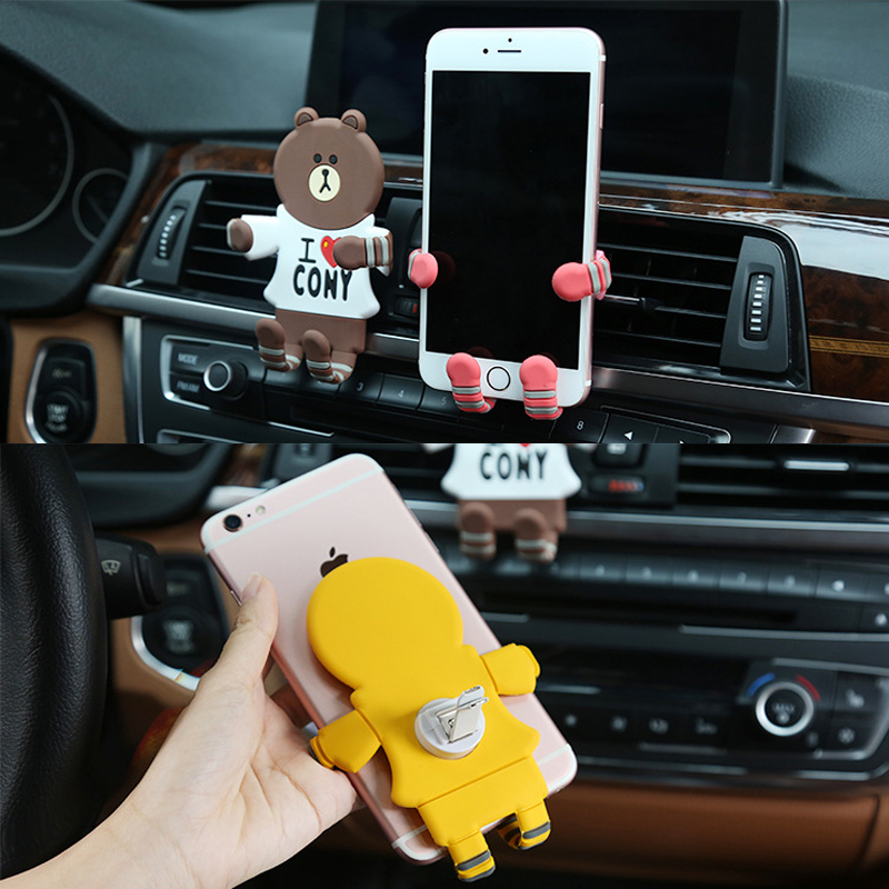 Image 4 - Car Ornament Cartoon Mobile Phone Bracket Perfume Clip Trim Decorative Pattern Auto Air Outlet Freshener Decoration Accessories-in Air Freshener from Automobiles & Motorcycles