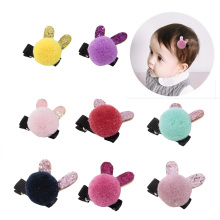 Cute Pompoms Barrettes for Baby Girls Glitter Rabbit Ear Hairpins Fashion Gift Children