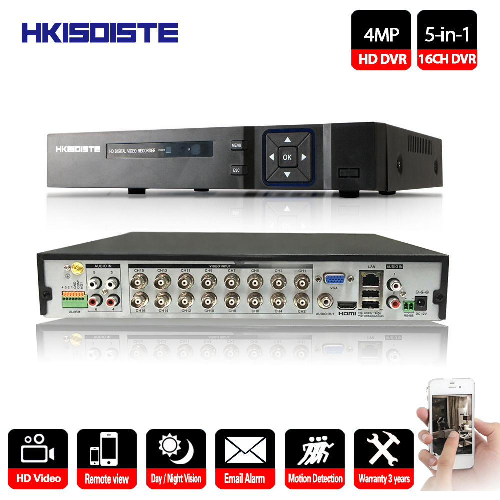 HKIXDISTE DVR Recorder 16CH Kit Camera NVR 16 Channel HDMI VGA Max 4TB P2P View Video Recorder Support AHD/Analog/TVI/CVI/IP Cam 16ch 5in1 ahd dvr support cvbs tvi ahd analog ip cameras hd p2p h 264 vga hdmi 2 hard disk bit video recorder rs485 audio