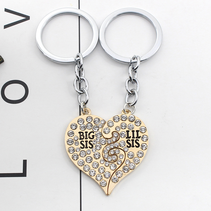 Full Crystal Key Ring Big Sis Little Lil Sis Best Friends Keychains Keychain