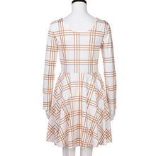 Women Plaid Dress 2018 Spring Long Sleeve Family Clothes Casual Party Dress With Round Neck Vestidos Female Office Dress Tunic