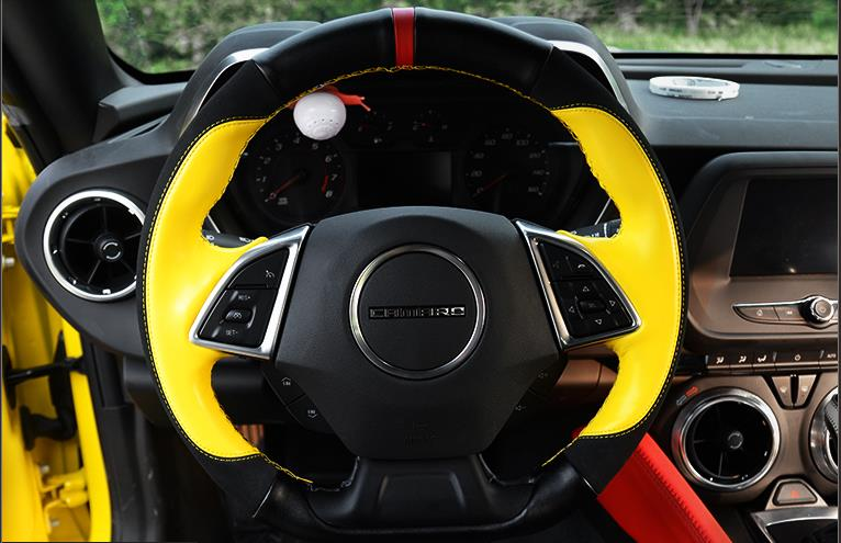 High quality all hand-sewed top layer leather (smooth+suede leather) 38cm steering wheel cover for new Chevrolet Camaro new product factory price high quality steering wheel audio control buttons for kia k2 rio steering wheel button