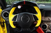 High Quality All Hand Sewed Top Layer Leather Smooth Suede Leather 38cm Steering Wheel Cover For
