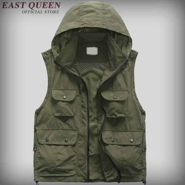 2016 New Men's Mesh Vest With Many Travel Vest Sleeveless Jackets Reporter Vests AA595C