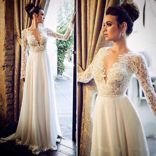 Lace With Sleeves Bridal Gowns: Deep V Neck Beach Wedding Dresses With Long Sleeves Sexy