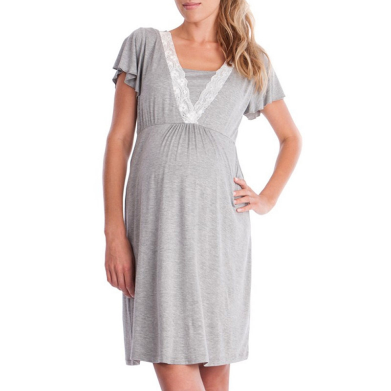 Summer Pregnant Breastfeeding Long Clothes Women Lace Pregnancy Feeding Dresses Casual Loose Maternity Nursing Dress S-XXL